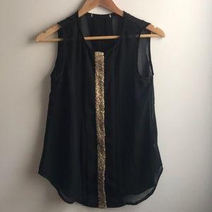 Tops - Black & Beige sheer sequin sleeveless tank top